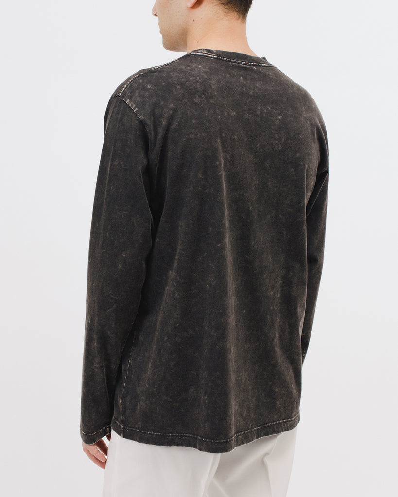 NATURAL DYED BLOCK LS JERSEY - GRAPHITE