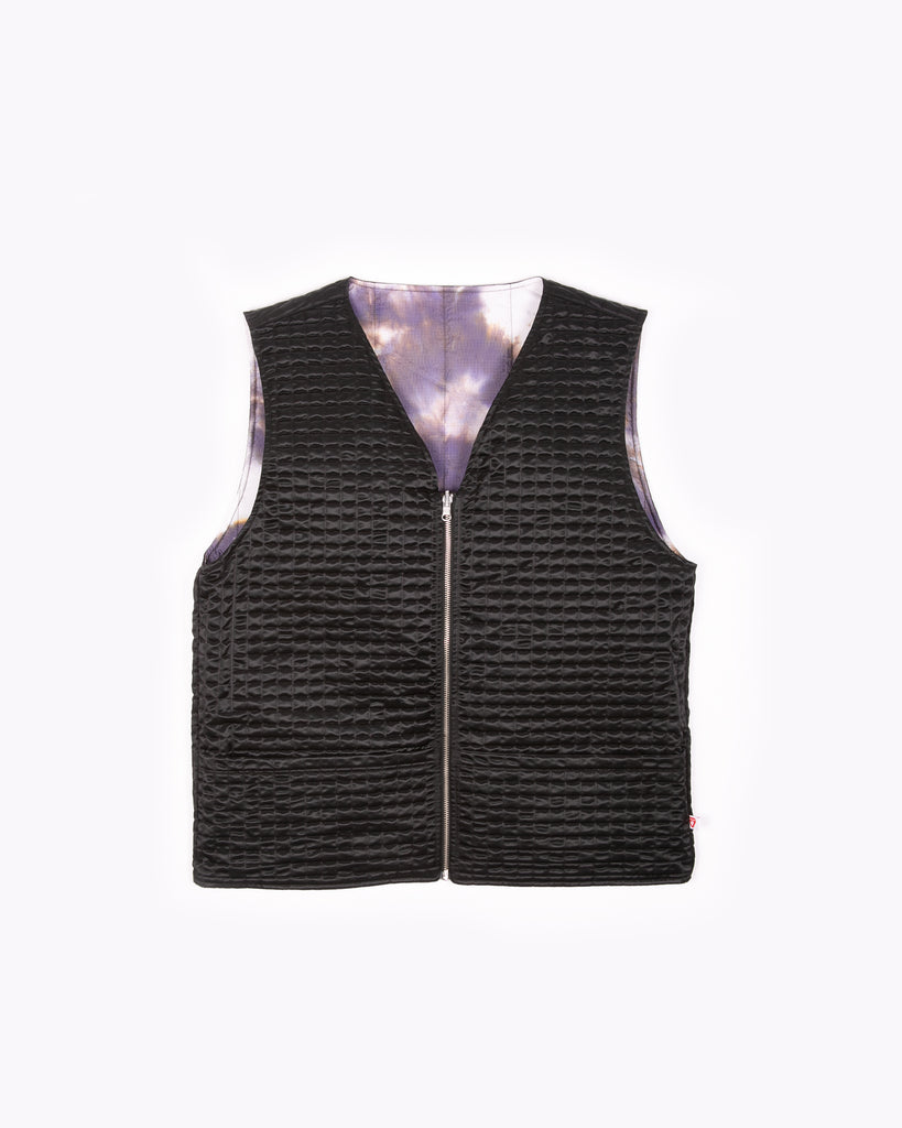 INSULATED VEST - BLACK / PURPLE ASH DYED(3104)