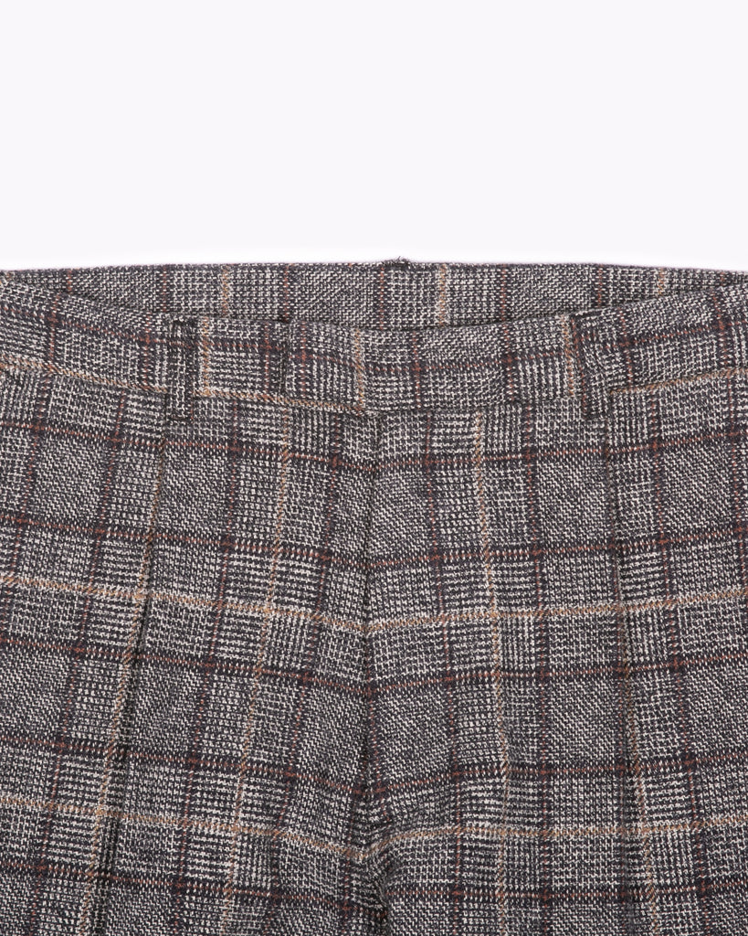 PLEATED SUIT TROUSER - GLEN PLAID(3121)