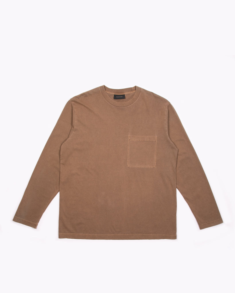 NATURAL DYED BLOCK LS JERSEY - BARK(3135)