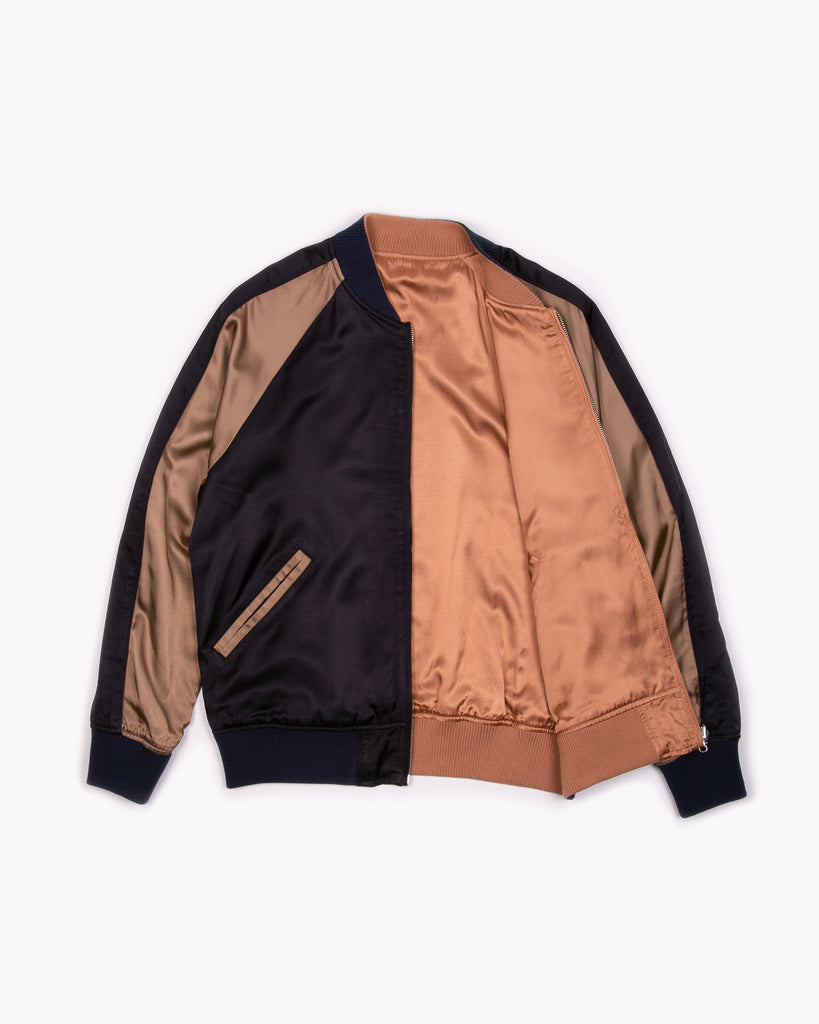 REVERSIBLE SATIN SOUVENIR JACKET - NAVY/CHAMPAGNE(3206)