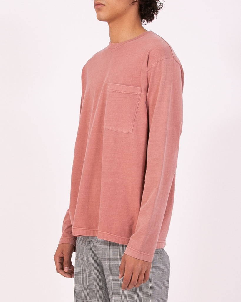 NATURAL DYED BLOCK LS JERSEY - BRICK(3233)