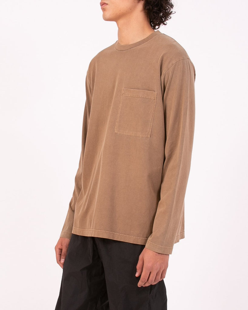 NATURAL DYED BLOCK LS JERSEY - BARK(3233)