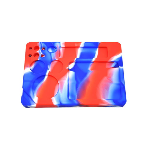 23X16 Cm Blue Red All in One Non-Stick Silicone Cigarette Weed Stash Rolling Tray