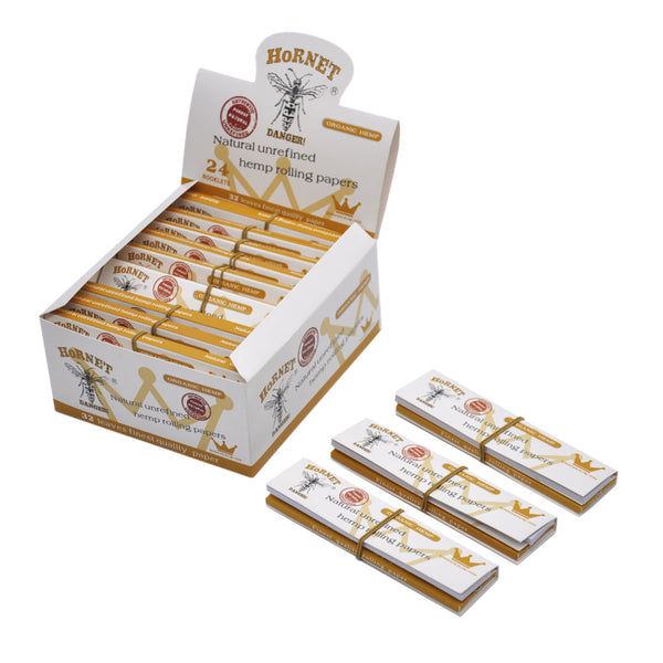King Size 110 mm Natural Unrefined Hemp Cigarette Rolling Papers with Tips