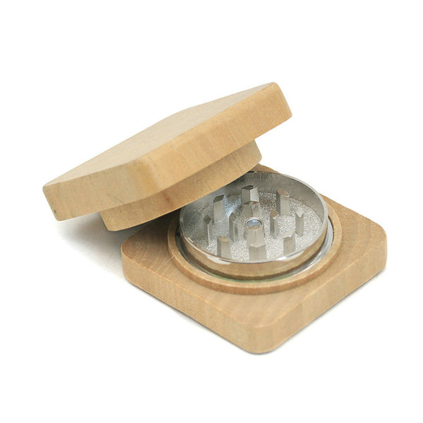Square Wood Grinder 52mm 2 Piece Wood Tobacco Weed Herb Crusher
