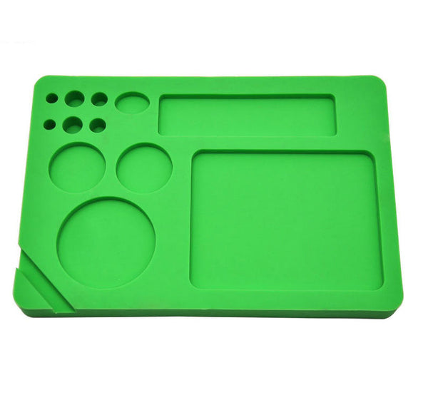 23X16 Cm Green All in One Non-Stick Silicone Cigarette Weed Stash Rolling Tray
