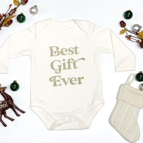Best Gift Ever Holiday Long Sleeve Baby Onesie