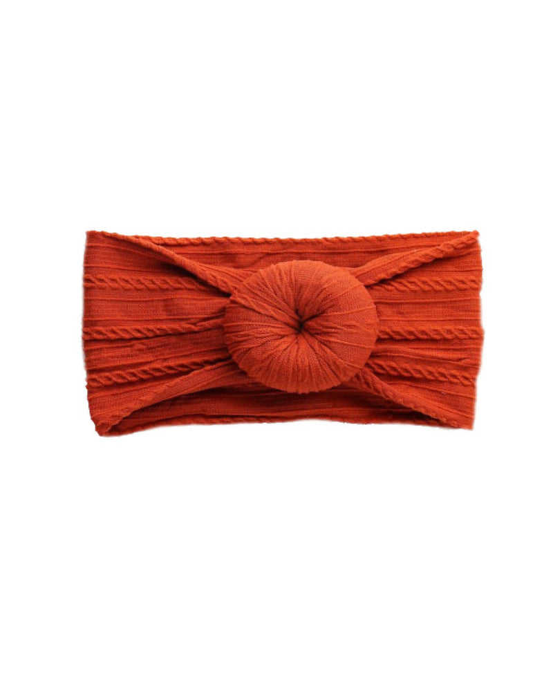 Burnt Orange Cable Knit Bun Headband