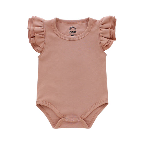 Dusty Rose Flutter Sleeve Baby Onesie