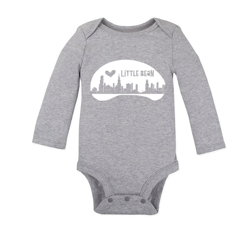Grey Little Bean Long Sleeve Onesie