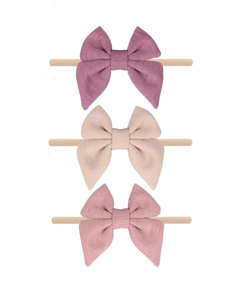 Neutral Cotton Bow Headband Gift Set