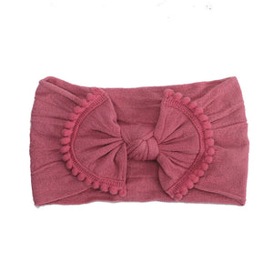 Raspberry Wide Nylon Headband with Pom Pom