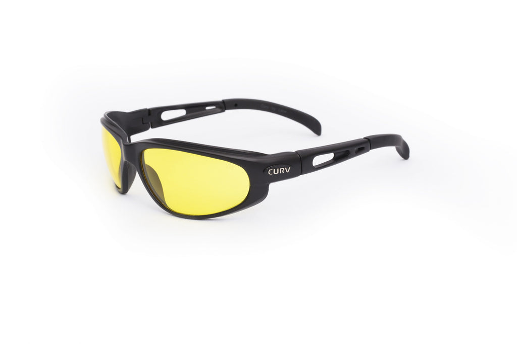 01-04  Yellow Night Time Lens Black Matte Frame – Motorcycle Sunglasses