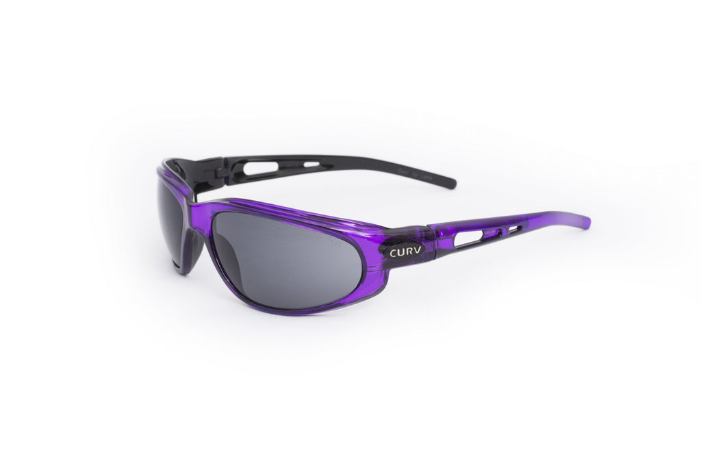 01-16 Crystal Purple Frame w/ Smoke Lens – Motorcycle Sunglasses