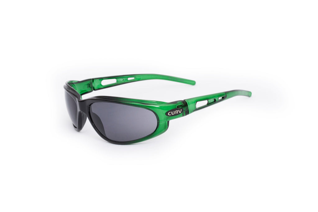 01-40 Crystal Green/Black Frame w/ Smoke Lens – Motorcycle Sunglasses
