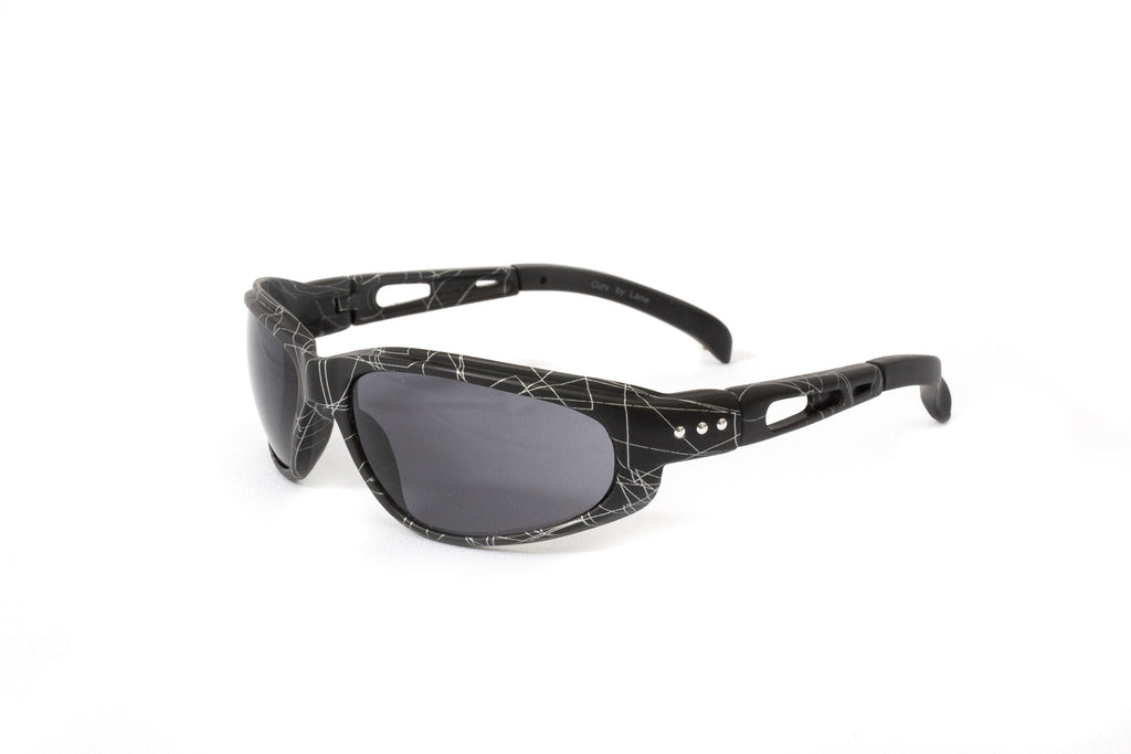 "01-59 ""Web"" Look Stud Black Matte Frame w/ Smoke Lens – Motorcycle Sunglasses"