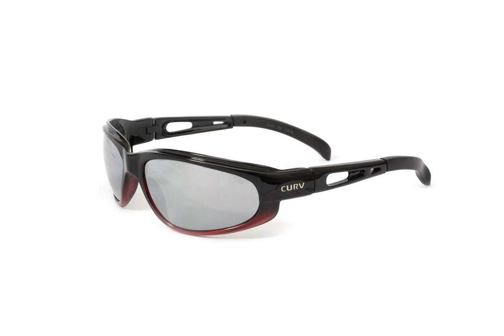 01-79 Shiny Black Frame Red Accent w/ Mirrored Lens – Motorcycle Sunglasses