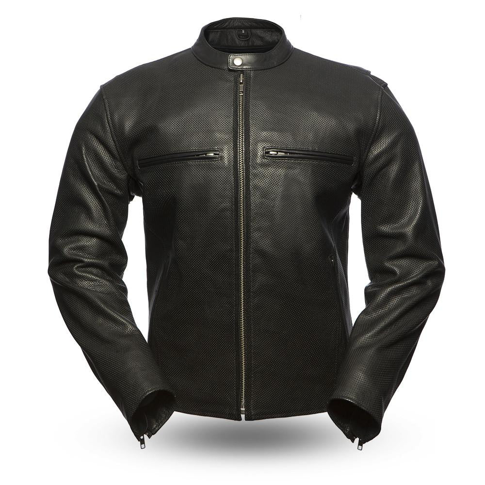 Men's FIM213 Turbine Perforated Naked Leather Black Summer Riding Jacket