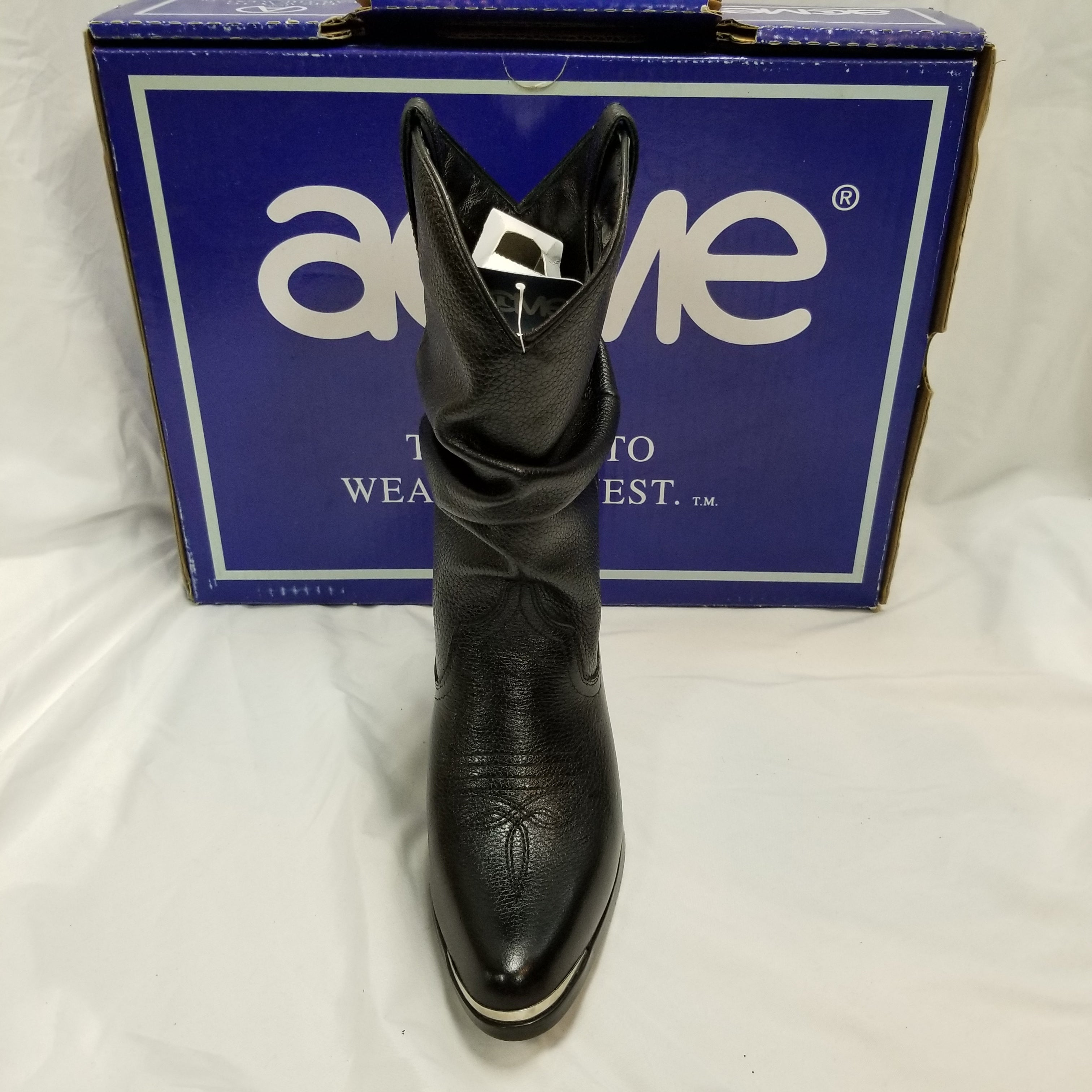 ACME Black Leather Slouch Pitstop Boots AC532