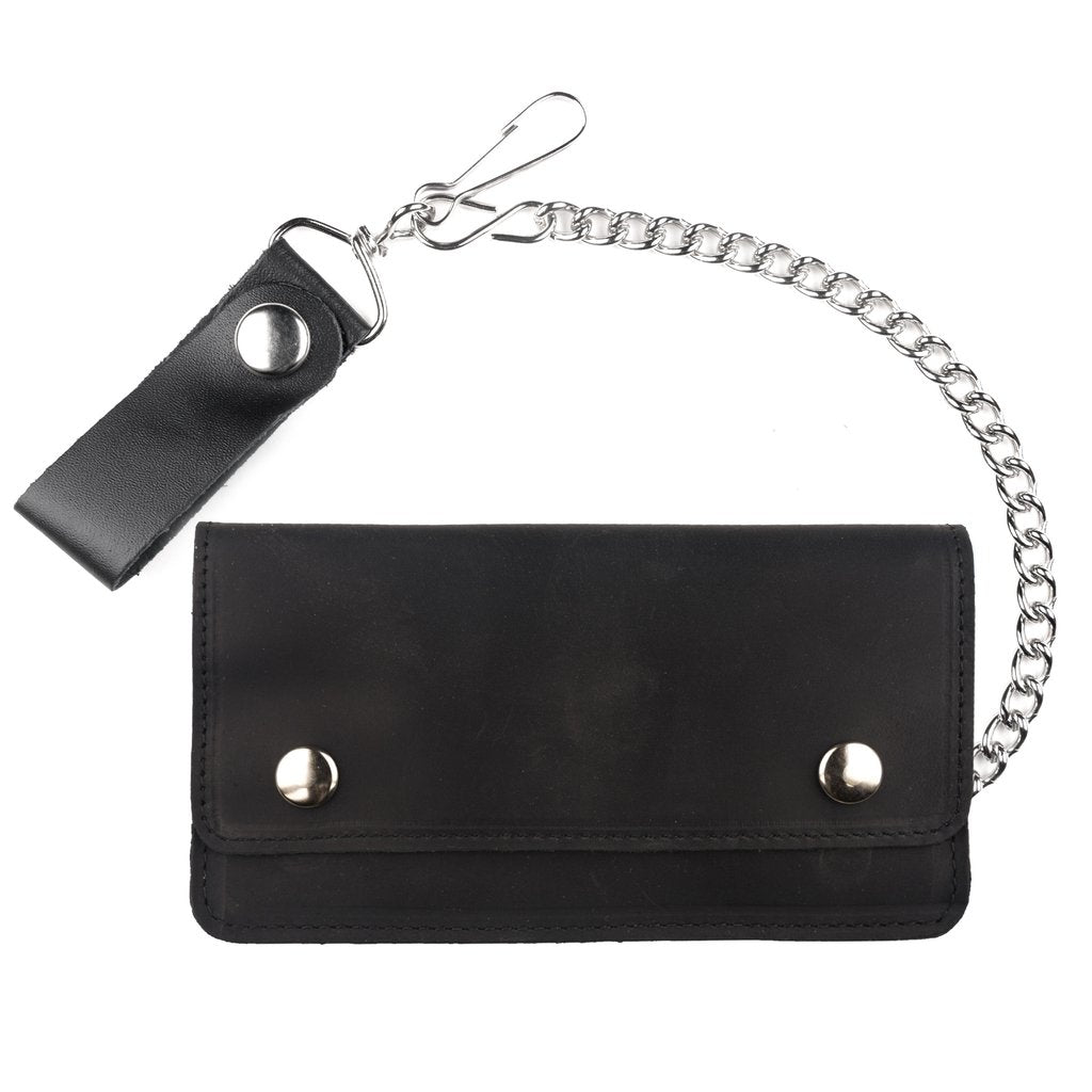 "7"" Oil Tanned Double Snap Biker Wallet"