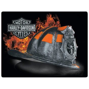 H-D® Fire Helmet Tin Wall Sign