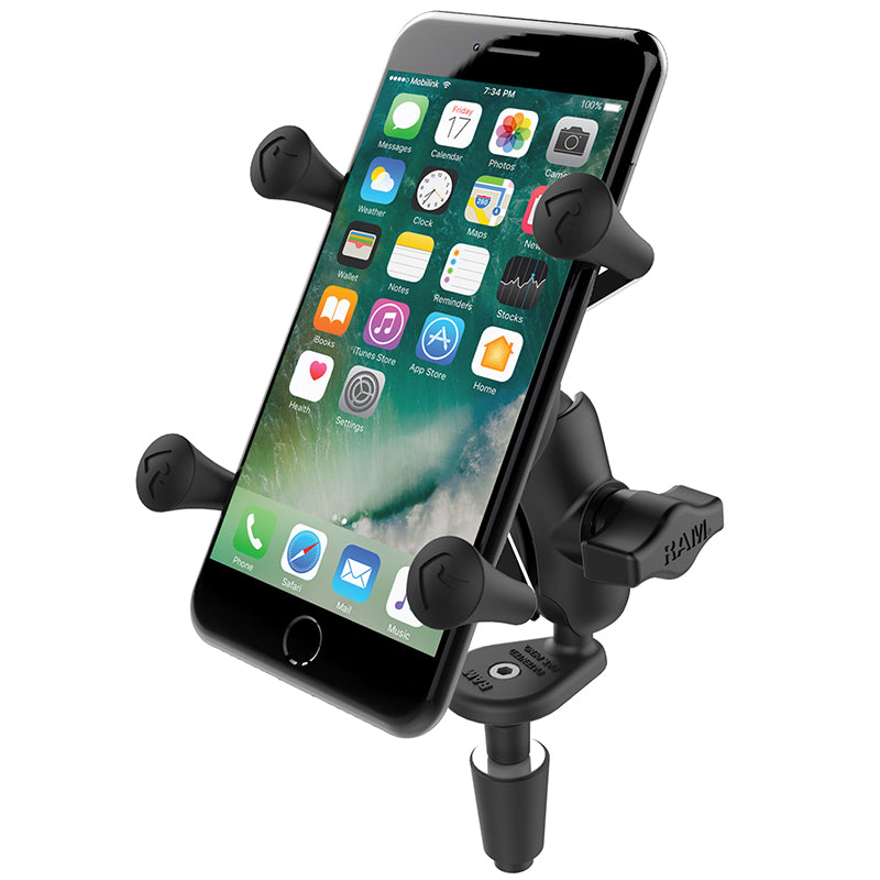 RAM Motorcycle FORK STEM Mount X-Grip for SMALLER Smartphones - RAM-B-176-A-UN7U