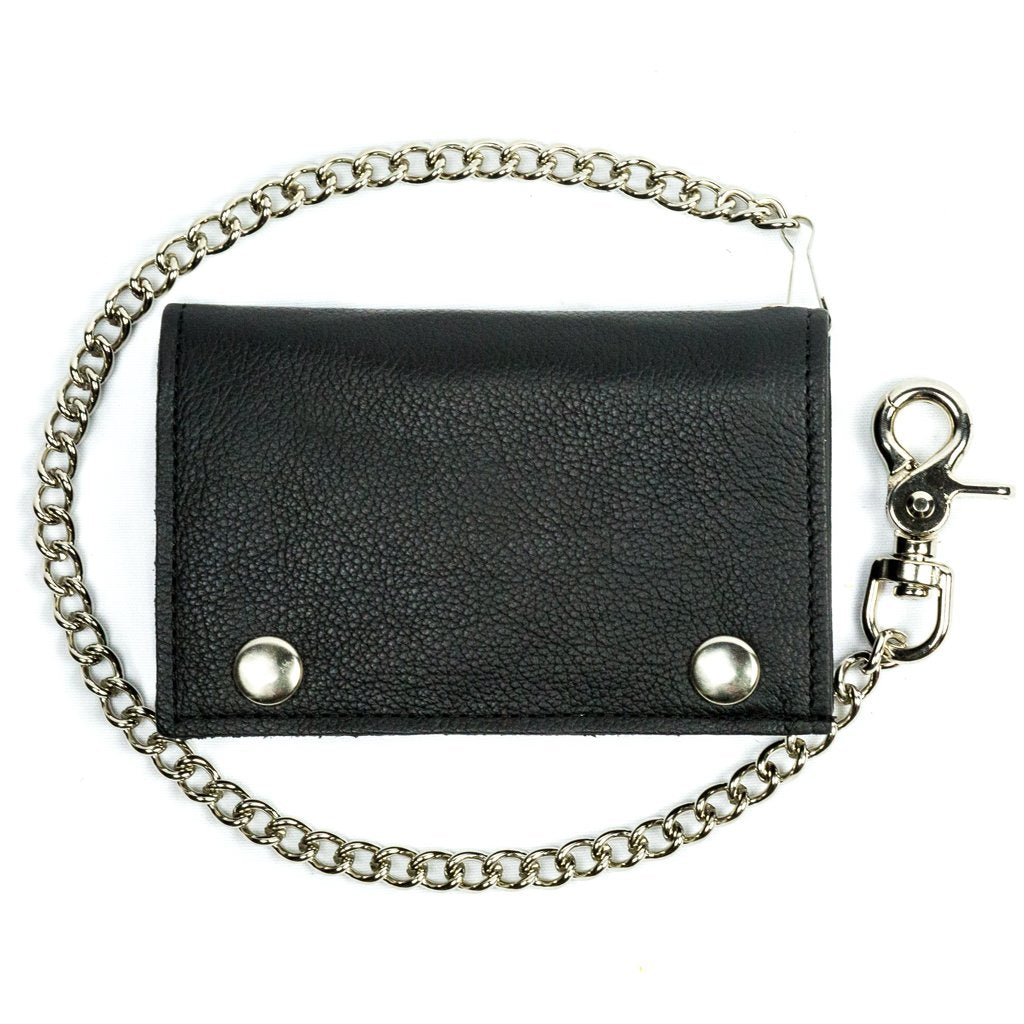 "5.75"" Large Tri-Fold Leather Biker Chain Wallet"