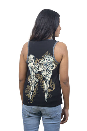 Fluer de Lis or Pistol Wings Black Tank Top with Zipper and Studs - VB017