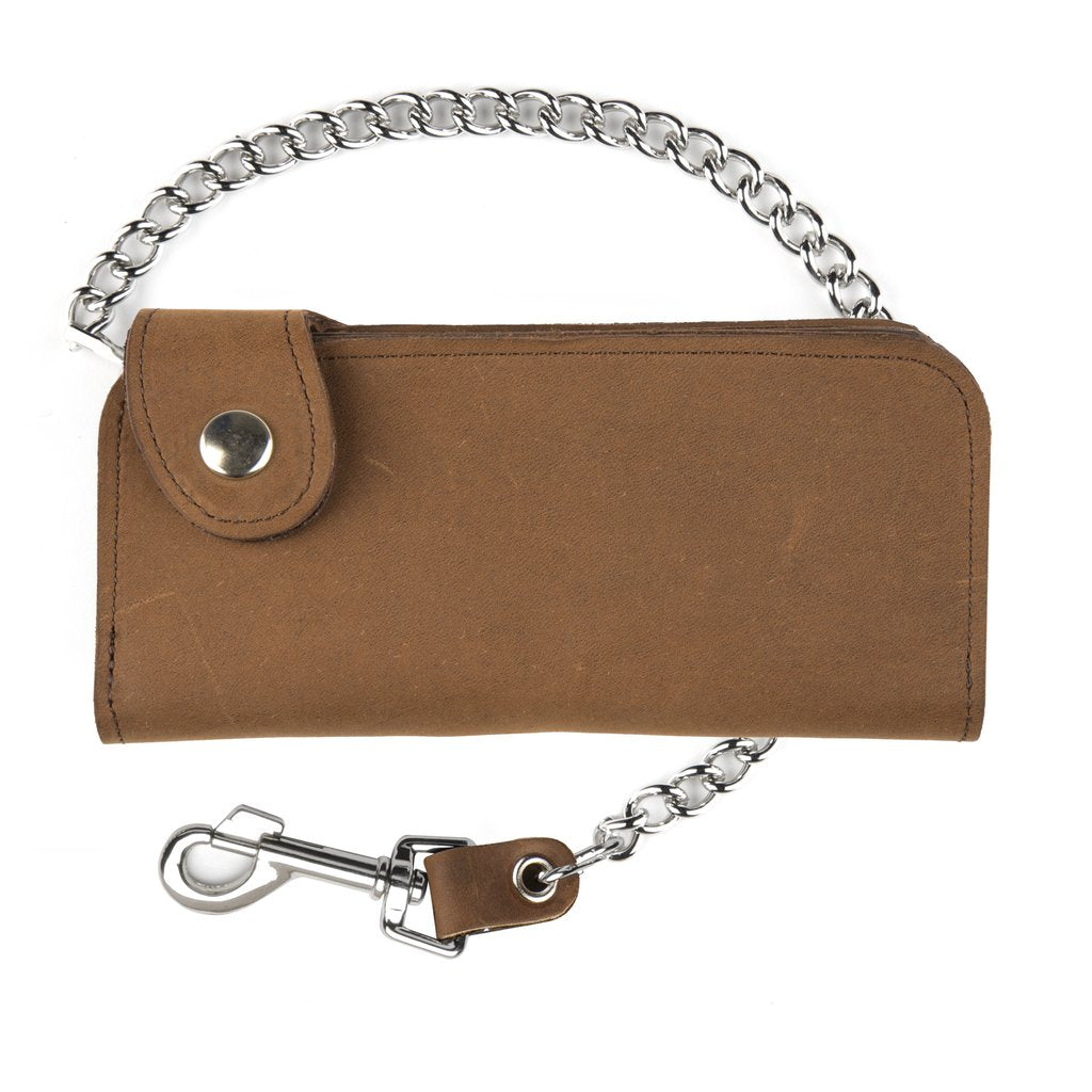 "7"" Side Snap Chain Leather Wallet  Brown"