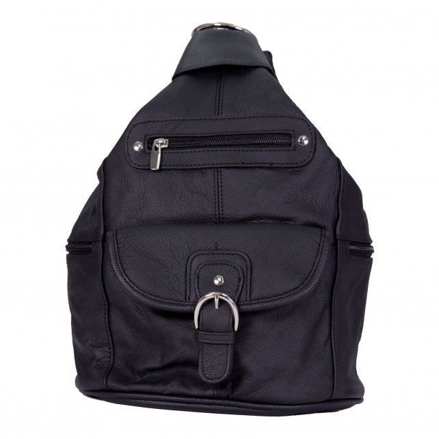 Genuine Black Leather Backpack Purse