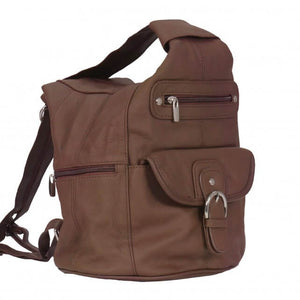 Genuine Brown Leather Backpack Purse