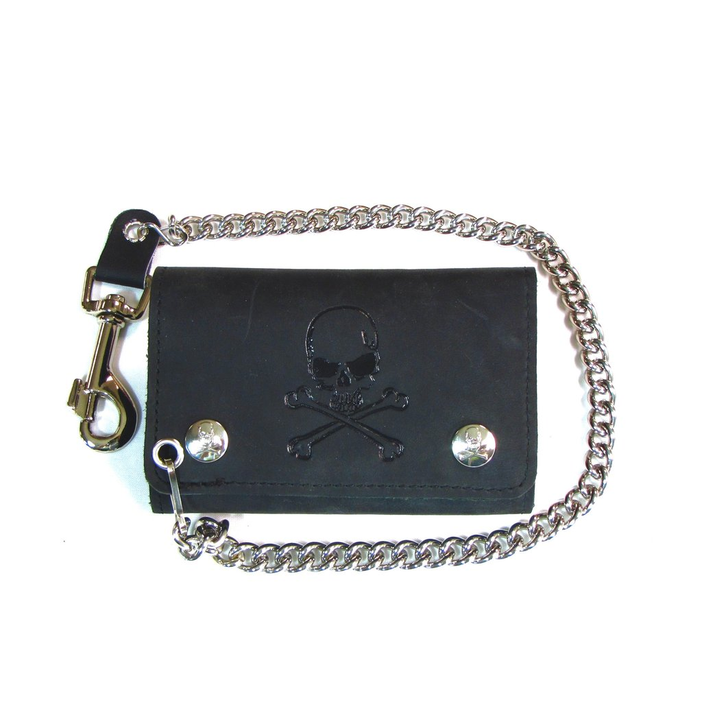"5.25"" Tri Fold - Skull and Crossbones Biker Chain Wallet"