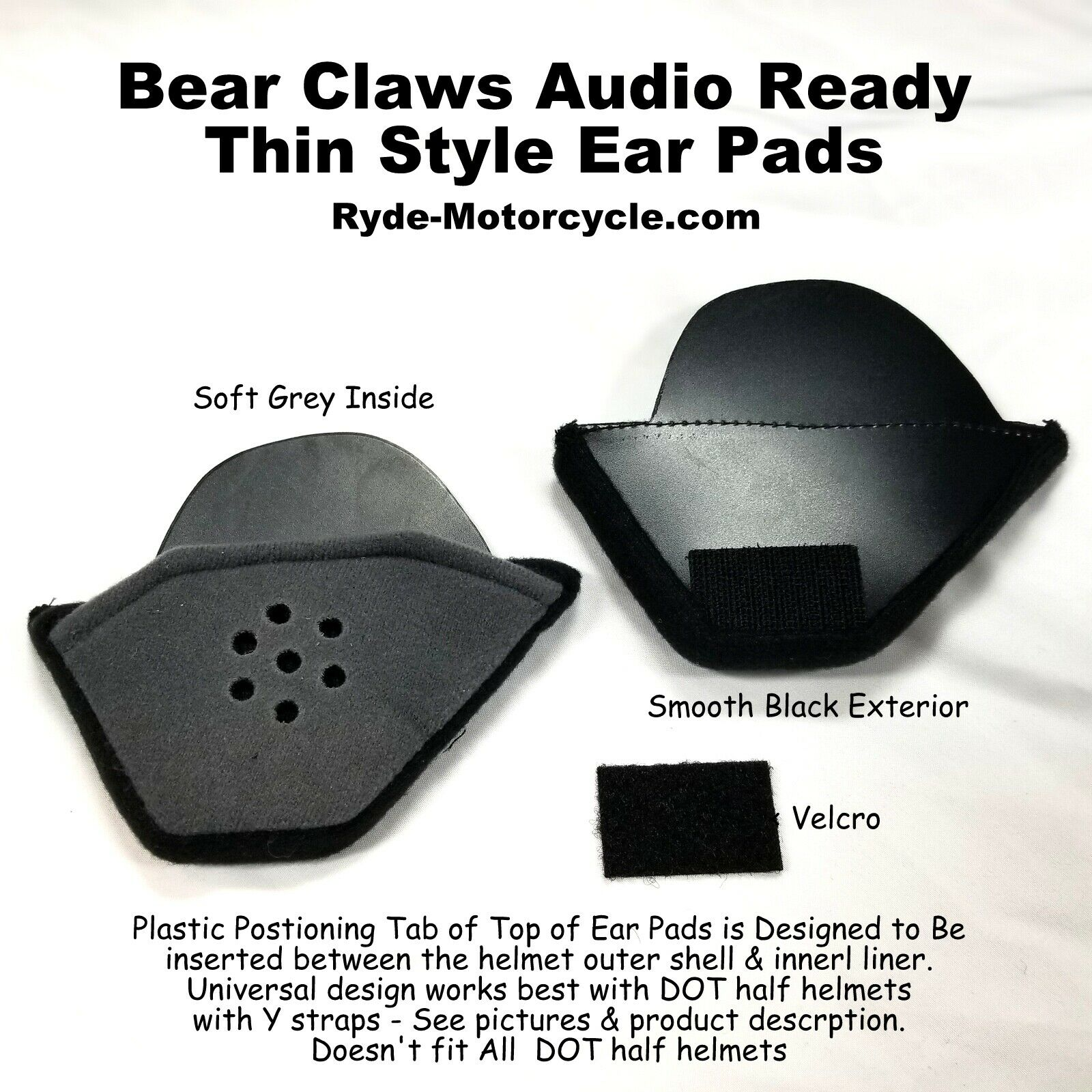 "Super Thin Ear Pad Inserts for DOT Half Helmet with Padded ""Y Strap"""