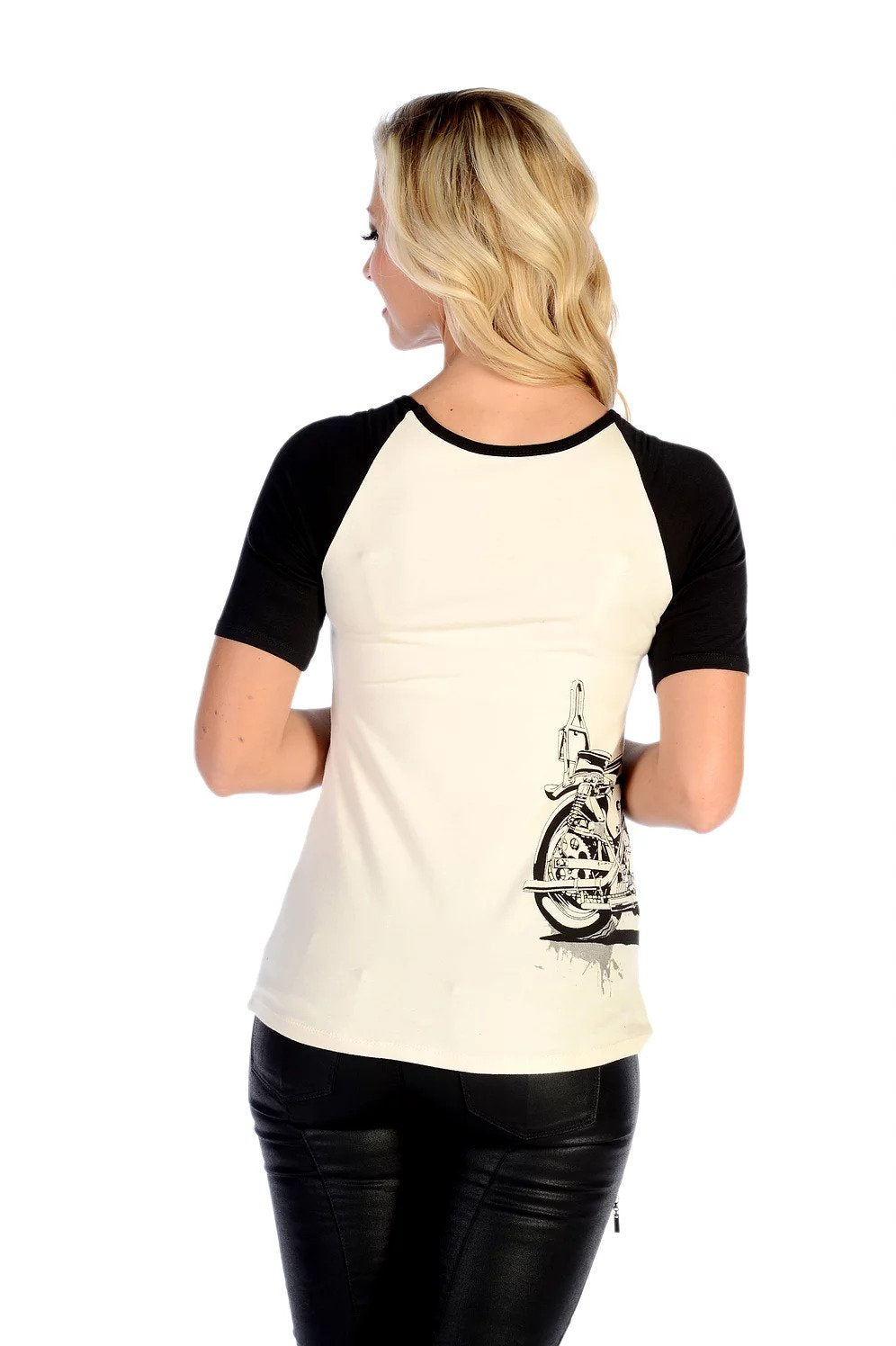 Women's Vintage Bike Baseball Tee - 7122