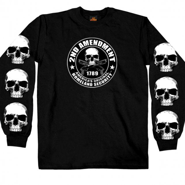 2nd Amendment - America's Original Homeland Security - Long Skull Sleeved T-Shirt