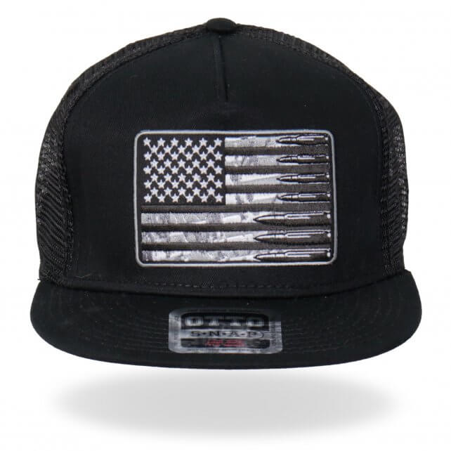 American Flag with Bullets Flat Brim Hat