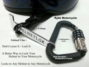 Helmetlok Motorcycle Helmet Lock With Polished T Bar Helmet Holder