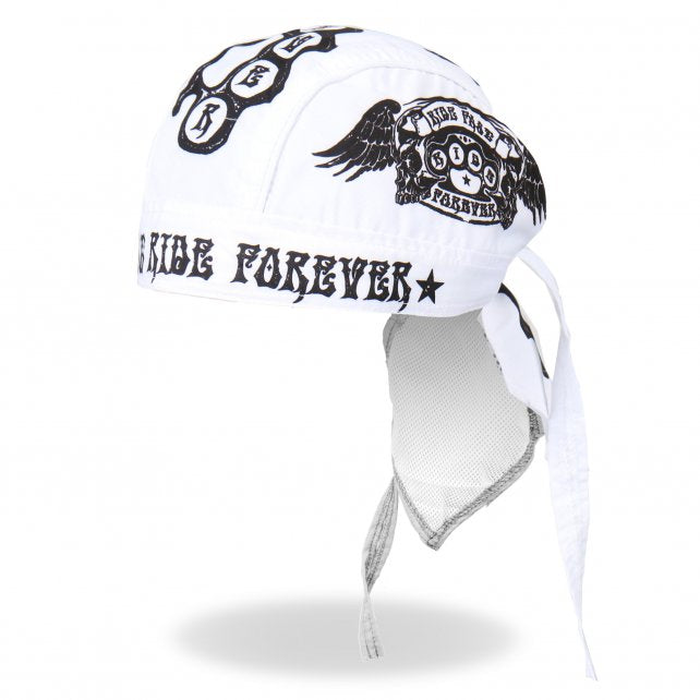 "This headwrap features original artwork of winged brass knuckles and the text ""Ride Fast, Ride Forever"" in bright screen print.   • Sewn in sweatband • Microfiber panels • Mesh lining  • Back tie • Unisex • One size fits most"