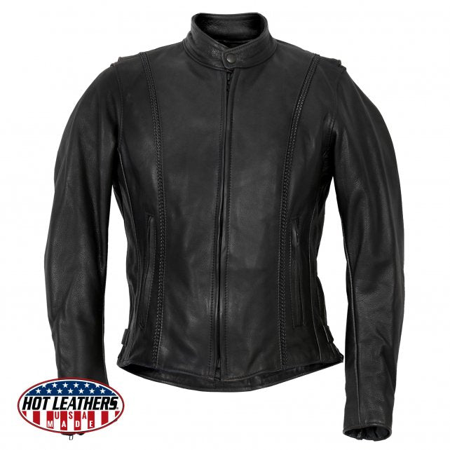 Ladies Made in the U.S.A. Leather Jacket with Braided Detail