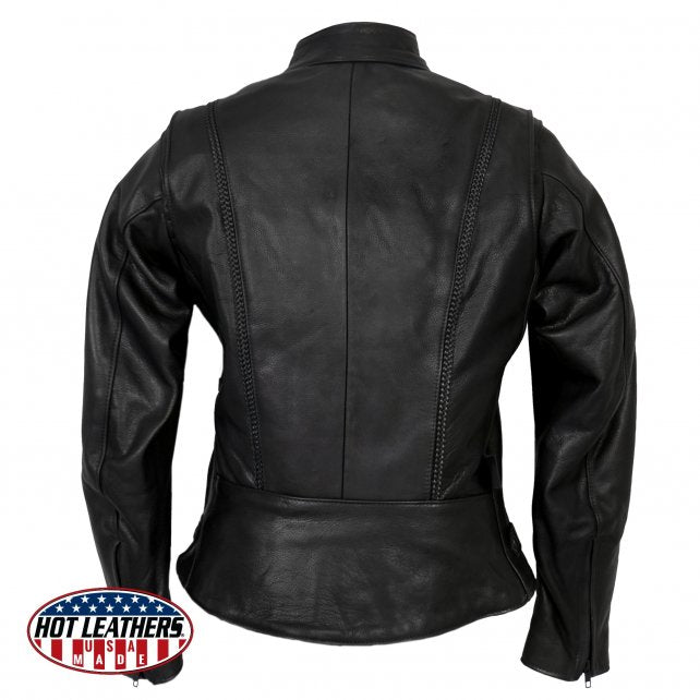 Ladies JKL5002 Made in the U.S.A. Leather Jacket with Braided Detail