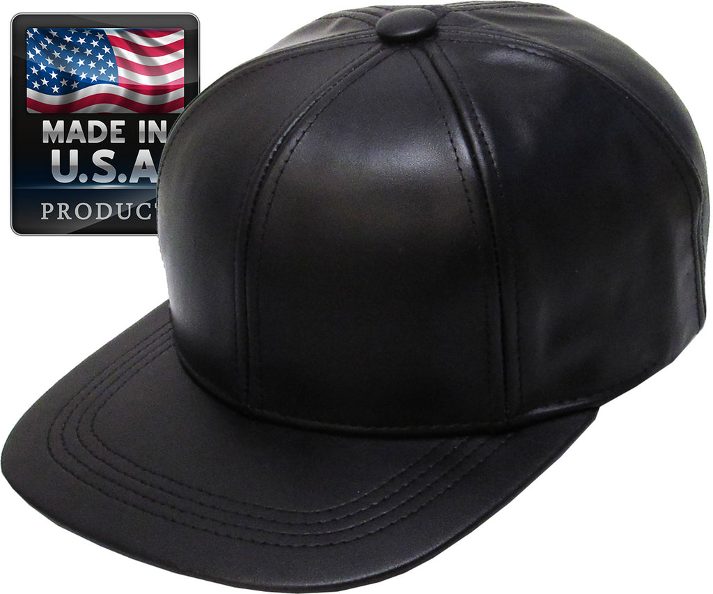 100% Leather Flat Brim Hat - Made in USA