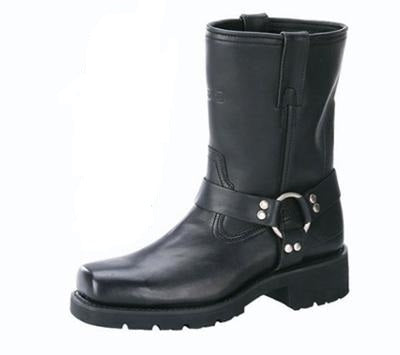"Men's Black 7"" Leather Square Toe Harness Motorcycle Riding Boots"