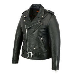 Women's DS850 Classic MC Style Fitted Naked Leather Jacket