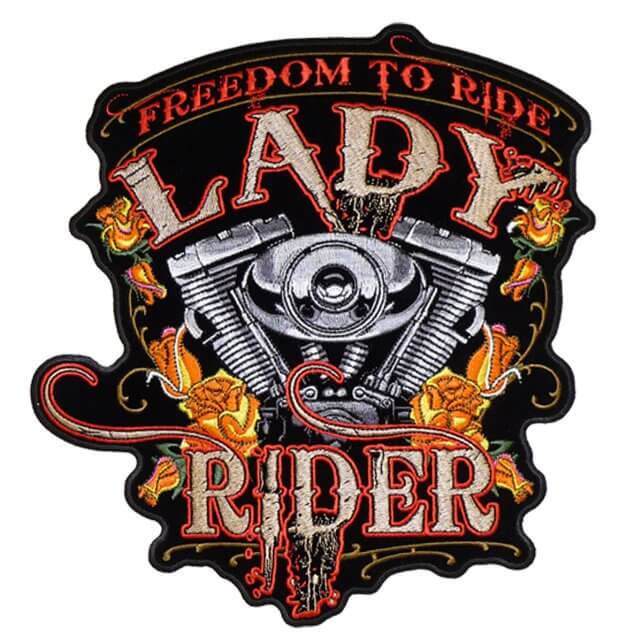 "9""x 10"" - Lady Rider ""Freedom to Ride"" Large Back Patch"
