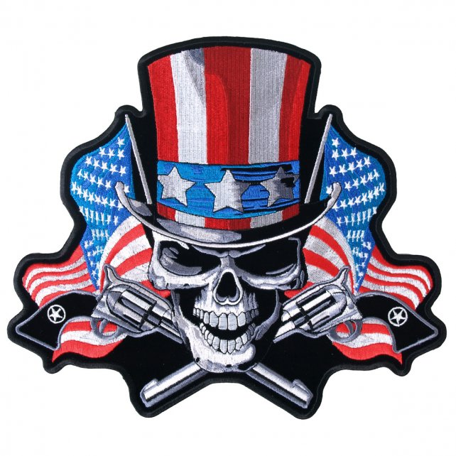 "10"" x 9"" - Uncle Sam Skull + Pistol Large Back Patch"