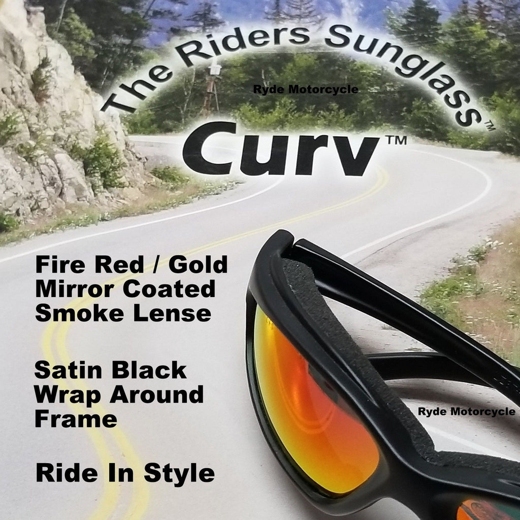 Curv Z Fire Red Gold Mirror Motorcycle Sunglass 02-21