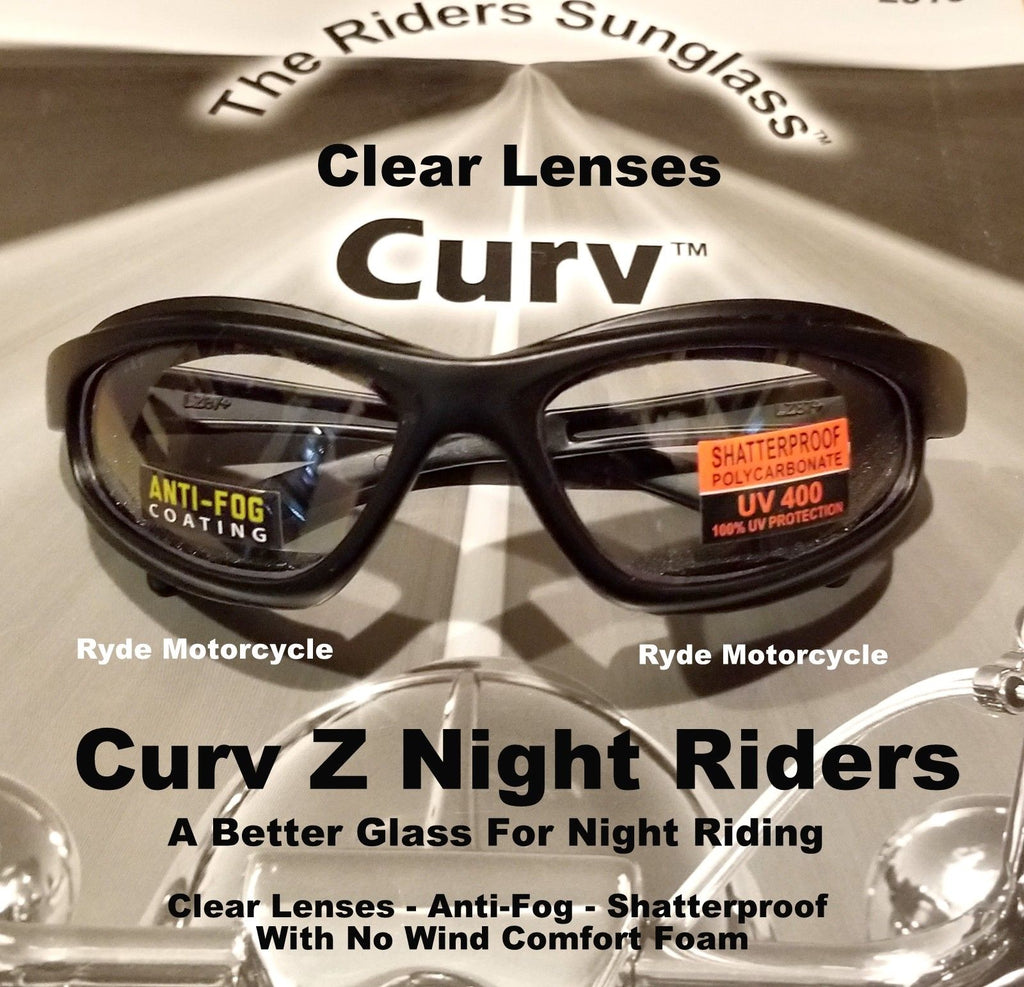 Curv Z Night Rider's Motorcycle Sunglasses with Clear Lenses 02-02