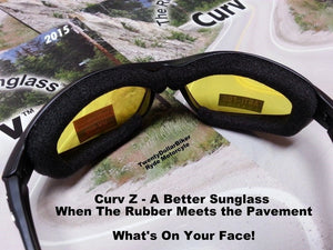 Curv Z Yellow Motorcycle Biker Soft Foam Sunglass Great Low light Lens 02-04