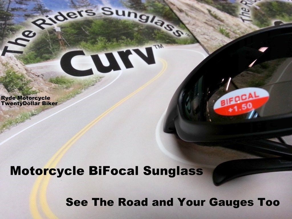 Curve Z Motorcycle Smoke Sunglass +1.50 BiFocal Lens